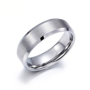 PW 高品質タングステン シンプル 銀色 サイドカット 指輪 / 幅8mm 12-28号 23g  リング[ラッピング対応] 条件付送料無料60502