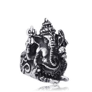 リング[ラッピング対応] PW 精良SUS316L製 ヒンドゥー教の神の一柱 ガネーシャ 富の神様 障害除去 お守りring /  幅24mm 14-28号 21g 条件付送料無料61084|pwatch2014