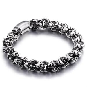 ブレスレット[ラッピング対応] PW 精良SUS316L製 シルバー銀色 骸骨 髑髏 スカル skull ファッション bracelet /  長さ225mm 幅12mm 70g 条件付送料無料61145|pwatch2014