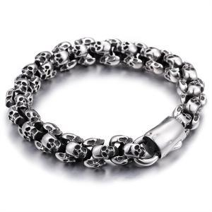 ブレスレット[ラッピング対応] PW 精良SUS316L製 シルバー銀色 骸骨 髑髏 スカル skull ファッション bracelet /  長さ225mm 幅12mm 70g 条件付送料無料61145|pwatch2014|03