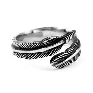指輪 リング[ラッピング対応] PW 精良SUS316L製 シルバー銀色 ゴローズ風 羽毛 フェザー ring /  幅10m 12-28号 4g 条件付送料無料61232|pwatch2014