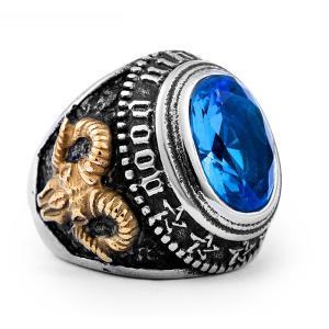 指輪 リング[ラッピング対応] PW 精良SUS316L製 青黒CZ 山羊の悪魔 五芒星 プロビデンスの目 フリーメイソン ring /  幅24mm 14-28号 18g 条件付送料無料61280|pwatch2014