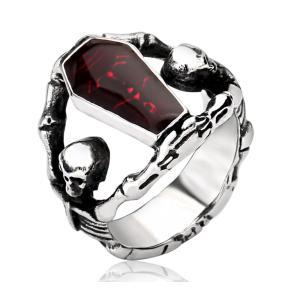 指輪 リング[ラッピング対応] PW 精良SUS316L製 パンク風 吸血鬼の棺桶 vampire 髑髏 スカル ring /  幅24mm 14-28号 条件付送料無料61299|pwatch2014