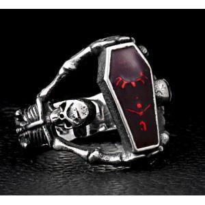 指輪 リング[ラッピング対応] PW 精良SUS316L製 パンク風 吸血鬼の棺桶 vampire 髑髏 スカル ring /  幅24mm 14-28号 条件付送料無料61299|pwatch2014|02