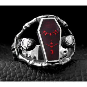 指輪 リング[ラッピング対応] PW 精良SUS316L製 パンク風 吸血鬼の棺桶 vampire 髑髏 スカル ring /  幅24mm 14-28号 条件付送料無料61299|pwatch2014|03