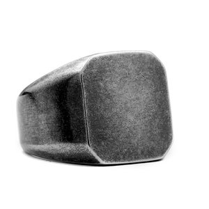 指輪 リング[ラッピング対応] PW 精良SUS316L製 シルバー銀色 復古風 艶消しの仕上げ シンプル 印台 ring /  幅18mm 14-28号 15g 条件付送料無料61312|pwatch2014