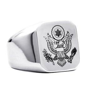 指輪 リング[ラッピング対応] PW 精良SUS316L製 シルバー銀色 ボールドイーグル アメリカ合衆国の国章 印台 ring /  幅17mm 14-28号 条件付送料無料61327|pwatch2014
