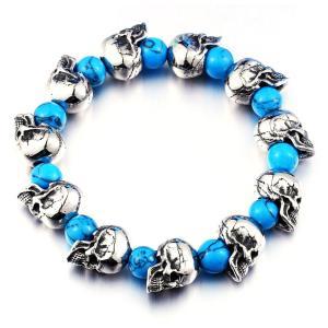ブレスレット[ラッピング対応] PW 精良SUS316L製 青いトルコ石 シルバー銀色 髑髏 骸骨 スカル skull bracelet /  長さ185mm-220mm 幅12mm 条件付送料無料61432|pwatch2014
