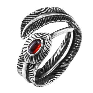 指輪 リング[ラッピング対応] PW 精良SUS316L製 アンティーク風 シルバー銀色 赤のジルコン 羽毛 フェザー ring /  幅14mm 12-24号 条件付送料無料61468|pwatch2014