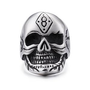 指輪 リング[ラッピング対応] PW 精良SUS316L製 シルバー銀 髑髏 スカル ラッキーナンバー8 skull ring /  長さ33mm 幅25mm 18-28号 条件付送料無料61689|pwatch2014