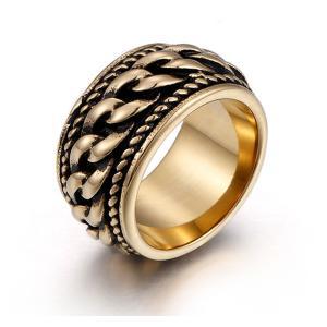 指輪 リング[ラッピング対応] PW 精良SUS316L製 シルバー銀色 18Kゴールド金 喜平チェーン ファッション ring /  幅12mm 16-26号 条件付送料無料61731|pwatch2014
