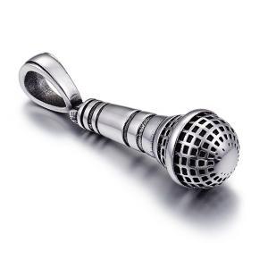 ペンダント[ラッピング対応] PW 精良SUS316L製 シルバー銀色 マイク マイクロフォン Microphone pendant /  長さ29mm 幅11mm 条件付送料無料61965|pwatch2014
