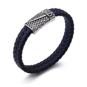 バングル[ラッピング対応] PW 精良SUS316L製 本革 古典風 羽毛の模様 編込み bracelet /  長さ210mm 幅11mm 条件付送料無料61967|pwatch2014