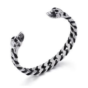 バングル[ラッピング対応] PW 精良SUS316L製 本革 狼 オオカミ wolf 髑髏 スカル skull bracelet /  長さ66mm 幅10mm 条件付送料無料61968|pwatch2014