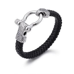 バングル[ラッピング対応] PW 精良SUS316L製 本革 古典風 唐草模様 編込み bracelet /  長さ220mm 幅11mm 条件付送料無料61969|pwatch2014