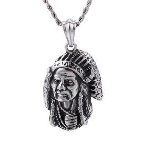 ペンダント[ラッピング対応] PW 精良SUS316L製 インディアンの酋長 Indian chieftain pendant /  長さ52mm 幅35mm 条件付送料無料61971|pwatch2014