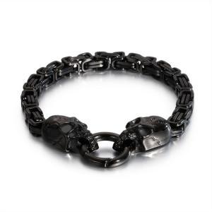 バングル[ラッピング対応] PW 精良SUS316L製 銀金黒の3色 髑髏 スカル skull bracelet /  長さ215mm 幅6mm 条件付送料無料61983|pwatch2014