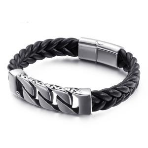 バングル[ラッピング対応] PW 精良SUS316L製 本革 唐草毛様 喜平タイプ 編込み ファッション bracelet /  長さ210mm 幅12mm 条件付送料無料62004|pwatch2014