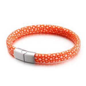 バングル[ラッピング対応] PW 精良SUS316L製 本革 蛇柄 スネークスキン snake skin ファッション bracelet /  長さ210mm 幅9mm 条件付送料無料62008|pwatch2014