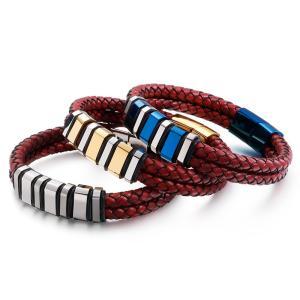 バングル[ラッピング対応] PW 精良SUS316L製 本革 編込み ファッション 2連bracelet /  長さ210mm 幅12mm 条件付送料無料62011|pwatch2014