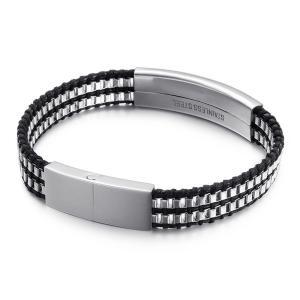バングル[ラッピング対応] PW 精良SUS316L製 本革 ベネチアンチェーン 2連bracelet /  長さ205mm 幅11mm 条件付送料無料62014|pwatch2014