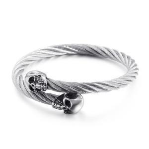 バングル[ラッピング対応] PW 精良SUS316L製 シルバー ツイストのデザイン パンク風 髑髏 スカル bracelet /  長さ60mm 幅6mm 条件付送料無料62015|pwatch2014