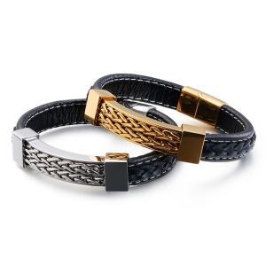 バングル[ラッピング対応] PW 精良SUS316L製 本革 銀金の2色 ファッション 編込み bracelet /  長さ210mm 幅12mm 条件付送料無料62018|pwatch2014