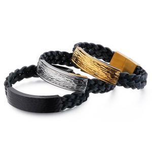 バングル[ラッピング対応] PW 精良SUS316L製 本革 銀金黒の3色 ファッション 編込み bracelet /  長さ210mm 幅13mm 条件付送料無料62020|pwatch2014