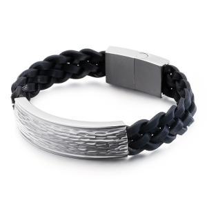 バングル[ラッピング対応] PW 精良SUS316L製 本革 銀金黒の3色 ファッション 編込み bracelet /  長さ210mm 幅13mm 条件付送料無料62020|pwatch2014|02