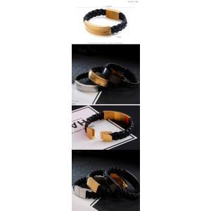 バングル[ラッピング対応] PW 精良SUS316L製 本革 銀金黒の3色 ファッション 編込み bracelet /  長さ210mm 幅13mm 条件付送料無料62020|pwatch2014|04