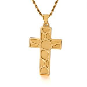ペンダント[ラッピング対応] PW 精良SUS316L製 銀x金 キリスト教 シンプル 十字架 クロス cross pendant /  長さ51mm 幅31mm 条件付送料無料62029|pwatch2014