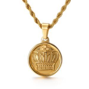 ペンダント[ラッピング対応] PW 精良SUS316L製 銀x金 王冠 クラウン crown コイン型 pendant /  長さ18mm 幅18mm 条件付送料無料62031|pwatch2014