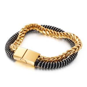 バングル[ラッピング対応] PW 精良SUS316L製 銀x青 金x黒 ターラントチェーン ファッション bracelet /  長さ215mm 幅13mm 条件付送料無料62033|pwatch2014