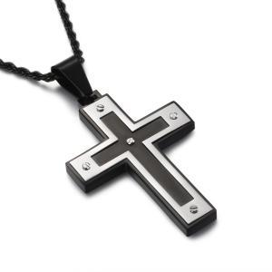 ペンダント[ラッピング対応] PW 精良SUS316L製 銀x金 キリスト教 現代風 シンプル 十字架 クロス crosspendant /  長さ49mm 幅33mm 条件付送料無料62037|pwatch2014