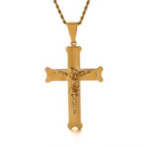 ペンダント[ラッピング対応] PW 精良SUS316L製 銀x金 キリスト教 イエス 十字架 クロス cross pendant /  長さ68mm 幅44mm 条件付送料無料62047|pwatch2014