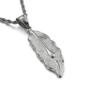 ペンダント[ラッピング対応] PW 精良SUS316L製 銀x金 羽毛 フェザー feathers pendant /  長さ42mm 幅15mm 条件付送料無料62048|pwatch2014
