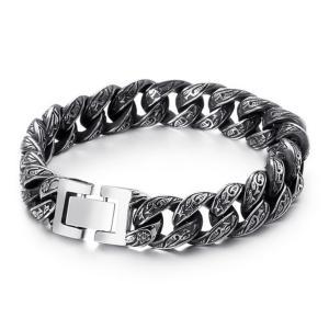 バングル[ラッピング対応] PW 精良SUS316L製 アンティーク風 唐草模様 ファッション bracelet /  長さ220mm 幅13mm 条件付送料無料62051|pwatch2014