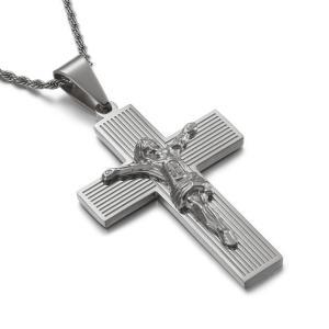 ペンダント[ラッピング対応] PW 精良SUS316L製 銀x金 キリスト教 イエス 十字架 クロス cross pendant /  長さ62mm 幅40mm 条件付送料無料62053|pwatch2014