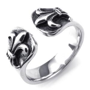 PW 高品質チタンとステンレス クロムハーツ風 燻し 指輪 / リリークロス 百合の紋章 シルバー 7-12号可選 幅11mm リング[ラッピング対応] 条件付送料無料24229|pwatch2014