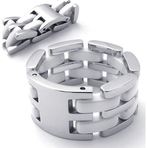 PW 高品質316Lステンレス セラミックス ホワイト白xシルバー銀 変形 リング 指輪 /  幅12mm 12-24号 [ラッピング対応] 条件付送料無料21343|pwatch2014