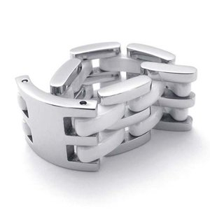 PW 高品質316Lステンレス セラミックス ホワイト白xシルバー銀 変形 リング 指輪 /  幅12mm 12-24号 [ラッピング対応] 条件付送料無料21343|pwatch2014|03