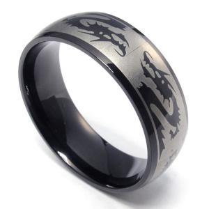 PW 高品質チタンとステンレス 竜マーク ブラック黒 指輪 / ドラゴンのモチーフ リング シンプルなデザイン 幅6mm 9-33号[ラッピング対応] 条件付送料無料22037|pwatch2014