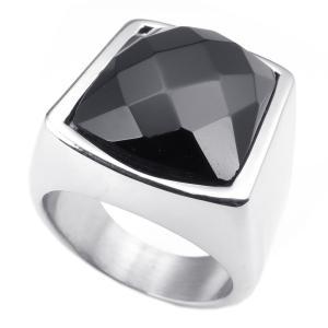 リング [ラッピング対応] PW 高品質316Lステンレス 銀x黒 ジルコン ローズ カット ring /幅22mm 16-28号 条件付送料無料25176|pwatch2014