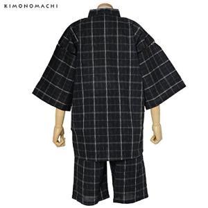 京都きもの町 メンズ 甚平 綿100% 「2.墨黒グレー格子 Lサイズ」