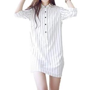 アイラカリラ #27 ローザ (XL, 白) ストライプ 縦縞 長袖 シャツ ワンピース レディース|qalib