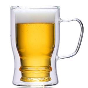 morningplace ダブルウォール グラス ビール ジョッキ タンブラー 二重構造 耐熱 保冷...
