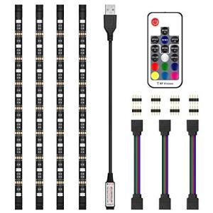 LEDテープライト テレビ PC照明 TVバックライト 20色 RGB RFリモコン付き USB接続 カラー選択 防水 LEDストリップライ qalib