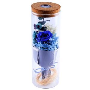 IKRR プリザーブドフラワー LED 12色に光るライト枯れない 花 バラ ライトガラスポット ギフト バレンタインデー 誕生日プレゼント qalib