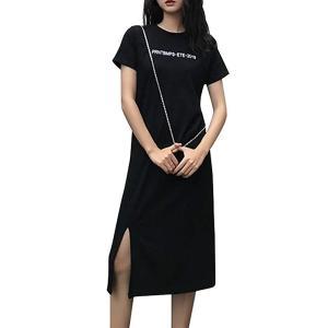 [エアバイ] Tシャツ ワンピース スリット レディース 半袖 ゆったり キレイメ モード a ライン 大きい サイズ 上品 ストレッチ お|qalib