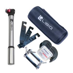 [GWも営業中]LIBIQ(リビック) パンク修理キット(タイヤブート チューブパッチ 超小型携帯ポンプ タイヤレバー) チューブ2本 携帯工具|qbei